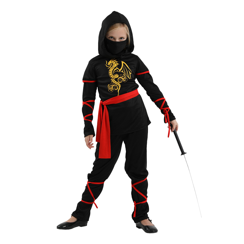 Image 2 - Free shipping New Children Super handsome Girl Kids black ninja warrior costumes Halloween Christmas Day New Year Party Dress Up