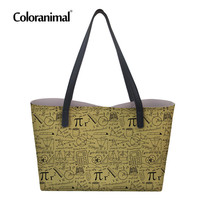 Coloranimal 3D Math Print Women Shopper Bags Women 's Large PU Leather Totes Beach Bags Storage Bag Luxury Design Women Handbags