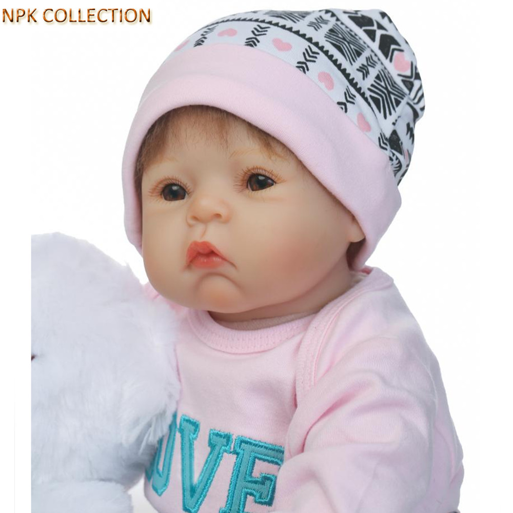 NPKCOLLECTION Silicone Reborn Baby Dolls 50CM Baby Alive Bonecas Cloth Body Soft Toys for Girls Children,20 Inch Real Baby Dolls stuffed toys about 55cm npk bonecas silicone reborn baby dolls safe and big eyes for 22inch soft vinyl alive baby toy for girls