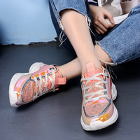 AURONET Colorful Women Sneakers Platform Chunky Trainers Sneakers Soft Women Shoes Summer Footwear Casual Shoes Obuwie Damskie