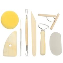 8pcs Pottery Tools Set Pottery Ceramics Molding Clay Tools Stainless Steel Wood Sponge Ceramic Tool