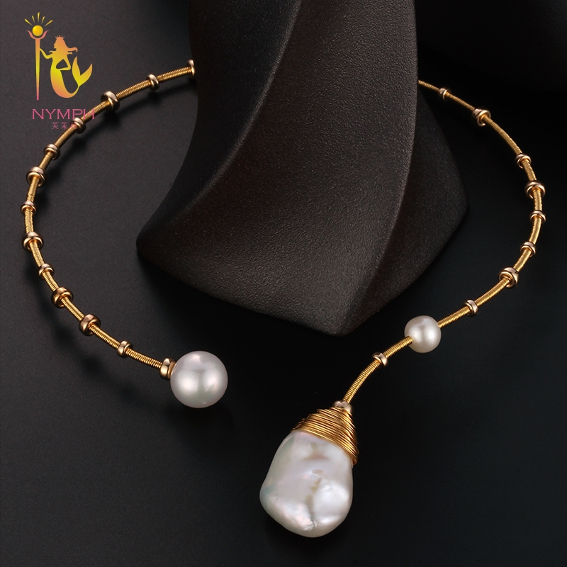 [NYMPH] Baroque Pearl Torques Necklace Fine Jewelry Real Pearl Big Pearl Necklace Women Wedding Trendy Party Jewelry X319 2 3mm red natural agate necklace multi layers 925 sterling silver with real pearl fine womne jewelry wedding party necklace