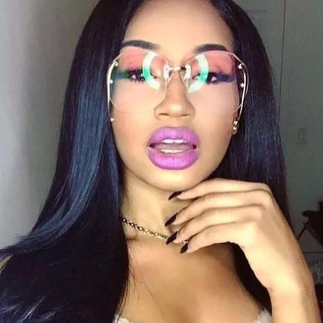 b8b5da0fd24 New Oversized Rimless Eyeglasses Women Sunglasses Transparent Round Sun  Glasses Female Gradient Brand Designer Shades Lady