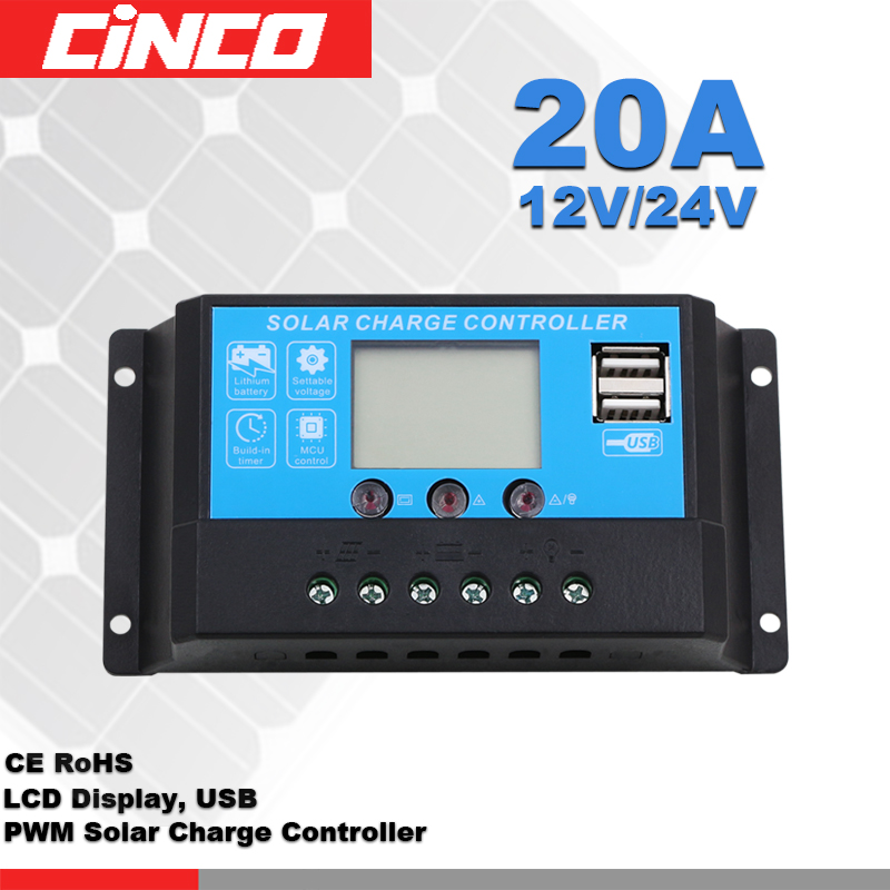 20A 12V/24V LCD display charge AGM GEL lithium battery for home solar power system use PWM solar controller