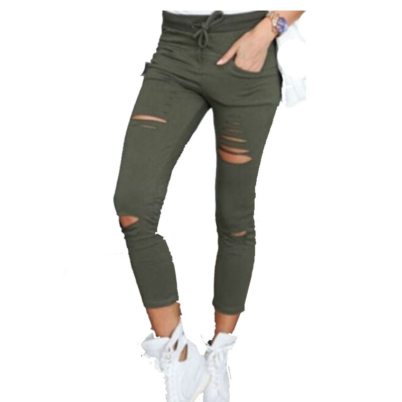 Casual Skinny Jeans Women Stretch Hole Slim Fit Denim Leggings Pencil Pants High Waist Trousers Army Green White Black XXL