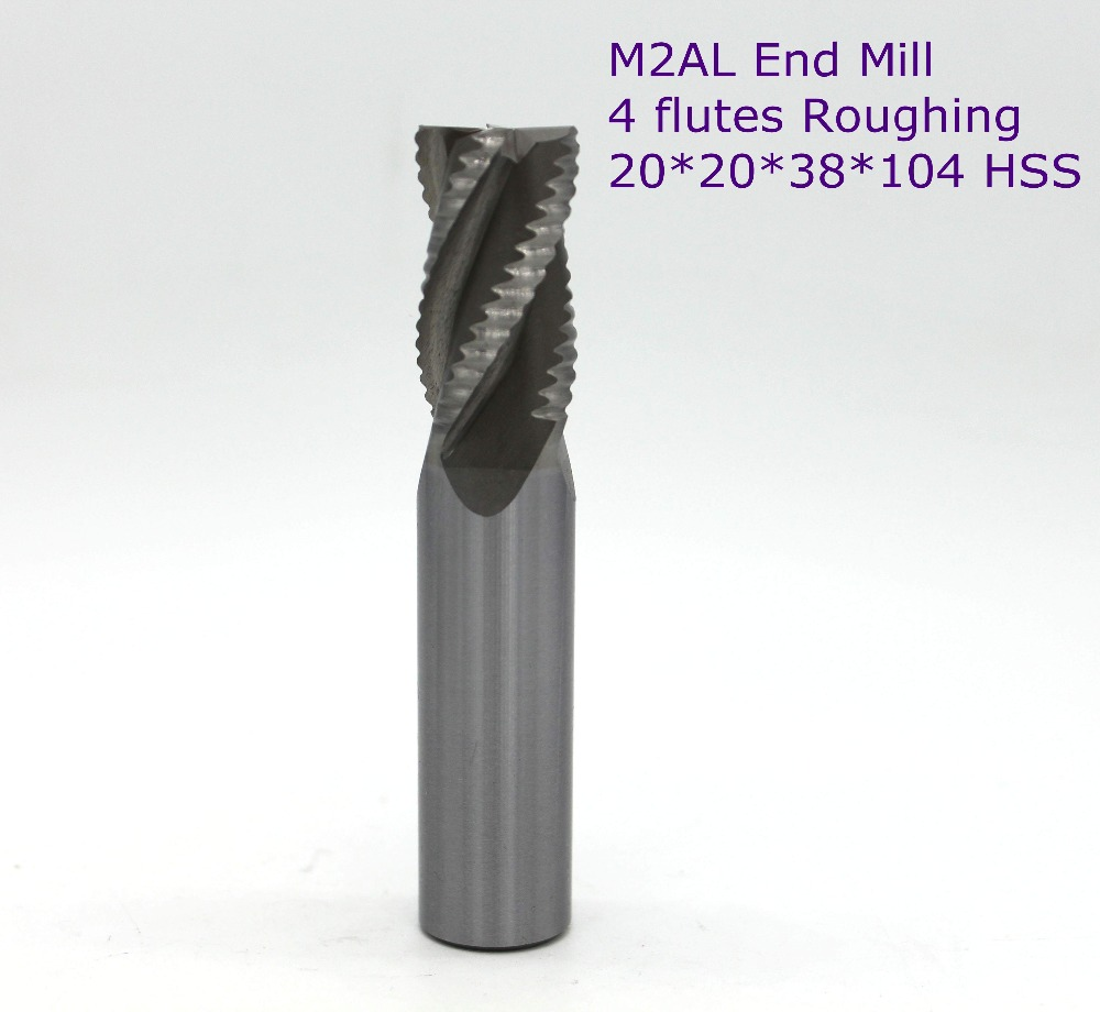 3 pcs of blade diameter 20mm overlength:104mm 4 flutes roughing HSS end mill for CNC milling machine tool mills cutter free shipping of 1pc hss 6542 full cnc grinded machine straight flute thin pitch tap m37 for processing steel aluminum workpiece