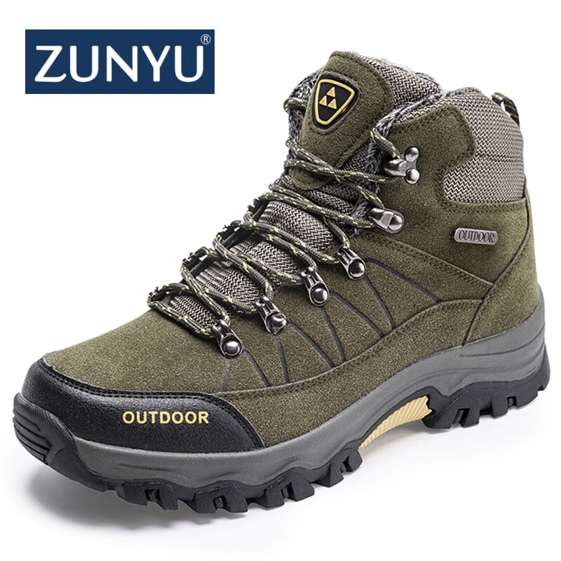 New Big size Men Boots for Men Winter Snow Boots Warm Fur&Plush Lace Up High Top Fashion Men Shoes Sneakers Boots ZUNYU Brand 2017 new winter high top comfortable boots warm plush sneakers mujer warm running shoes for men cheap sale sneakers zapatillas