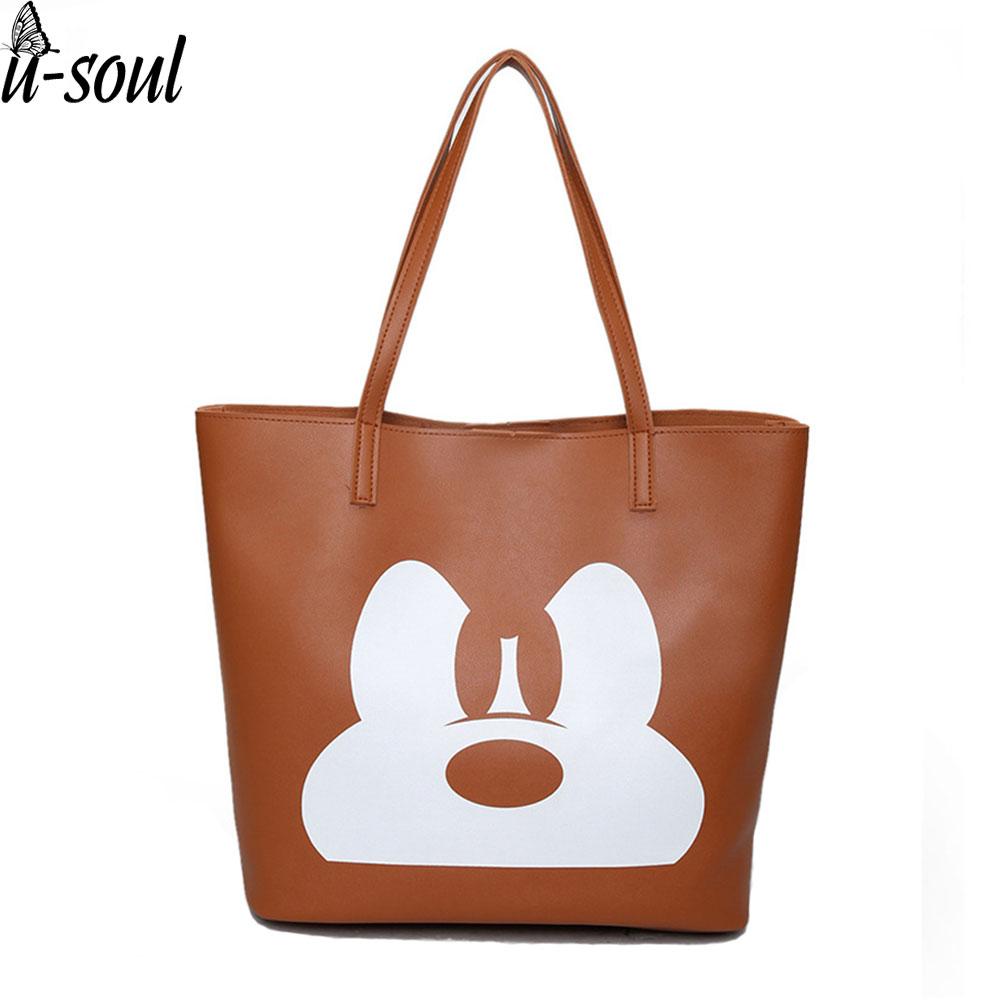 Fashion Handbag Pu Leather Women Leather Handbags Ladies Cartoon Printing Women Tote Bag Female Shoulder Bag A2706
