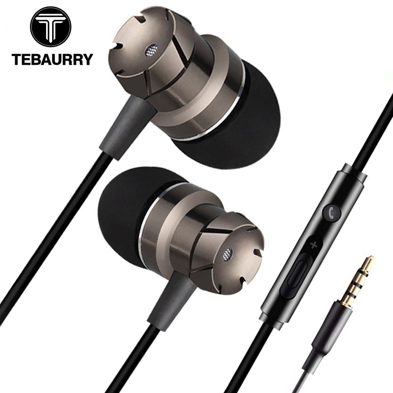 TEBAURRY TD4 Metal Turbo Earphone For Phone Wired In-Ear Bass Earphones 3.5mm MP3 DJ Headset With Microphone Volume Control