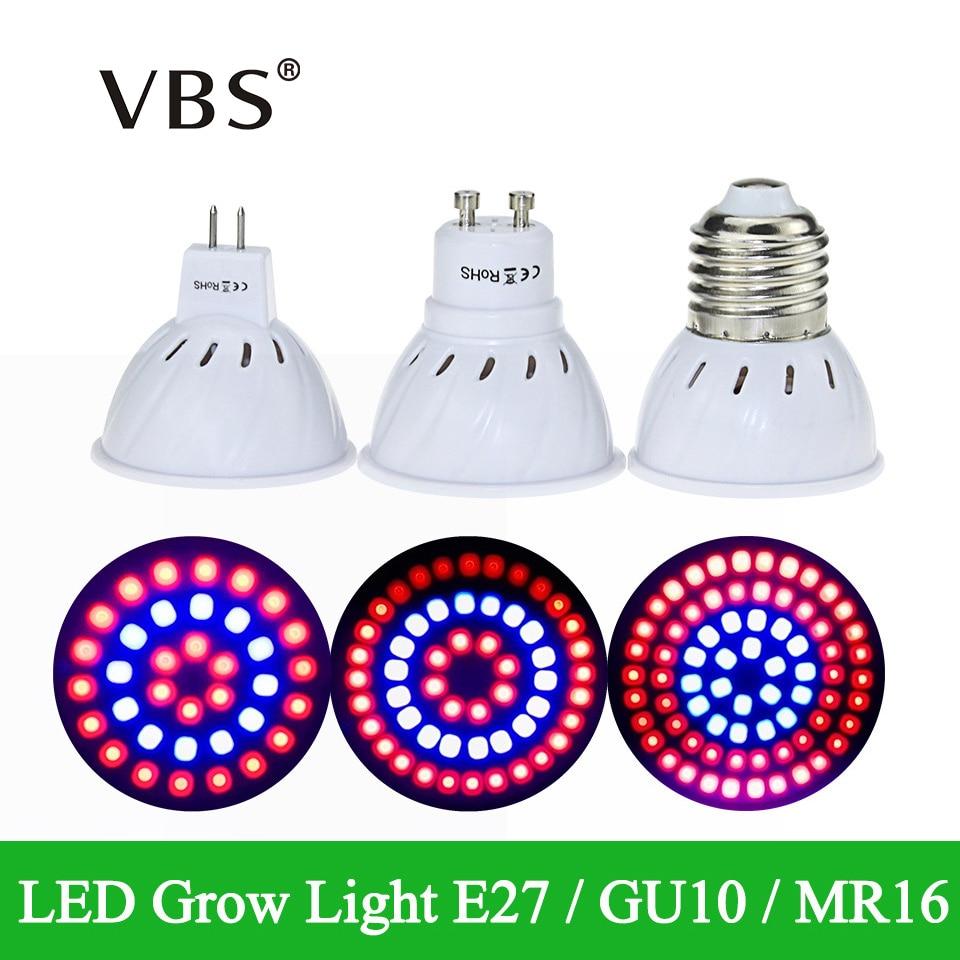 36Leds 54Leds 72Leds 220V Plant LED Grow Light  E27 GU10 MR16 Full Spectrum Red+Blue LED Grow Lamp For Indoor Or Desktop Plants