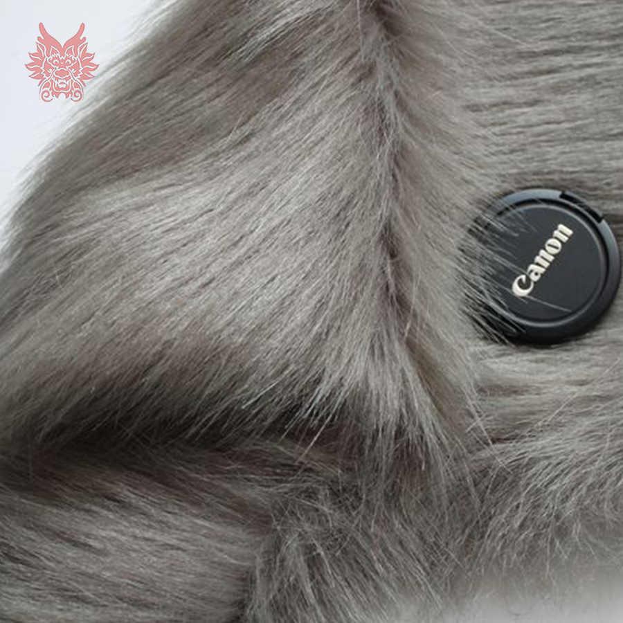 Alta calidad 7 cm de largo el pelo gris de tela de piel de invierno Chaleco de abrigo cosplay etapa de decoración envío gratis 150*50 cm 1 pieza SP3760