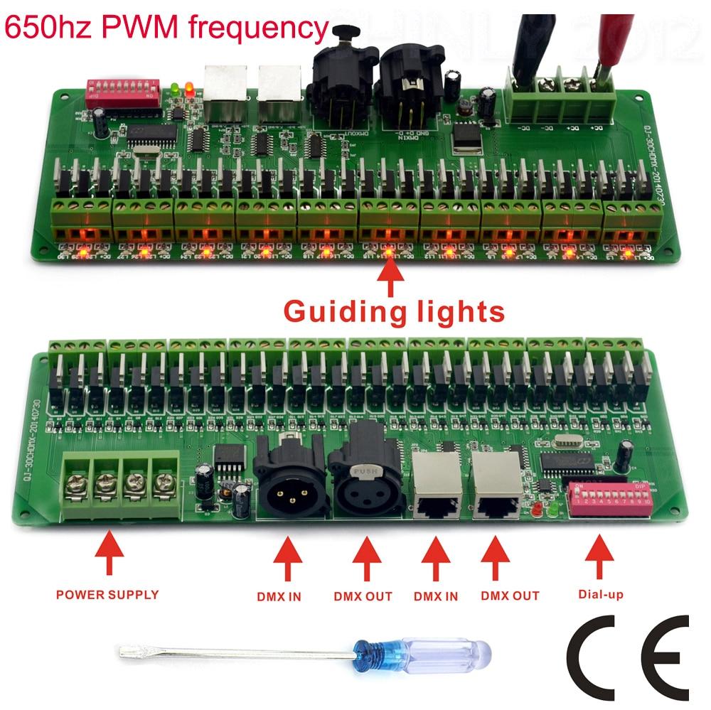 30 channel dmx 512 rgb led strip controller dmx decoder dimmer driver dc9v 24v in rgb controlers. Black Bedroom Furniture Sets. Home Design Ideas