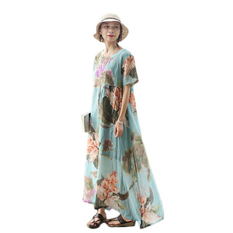 Eté Maxi robes femmes manches courtes longue Robe bohème Floral chemise Robe Vintage Robe Jurken Sommer Kleid