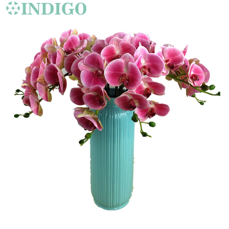Indigo 5pcs 3d phalaenopsis orchids 7 flowersstem silk real indigo 5pcs 3d phalaenopsis orchids 7 flowersstem silk real touch flower orchid wedding flower floral party free shipping mightylinksfo