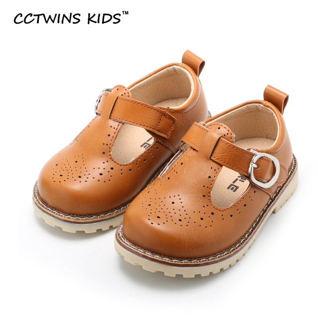 CCTWINS KIDS spring autumn children fashion black brogue  for baby boy brand pu leather flats girl brand shoe toddler yellow