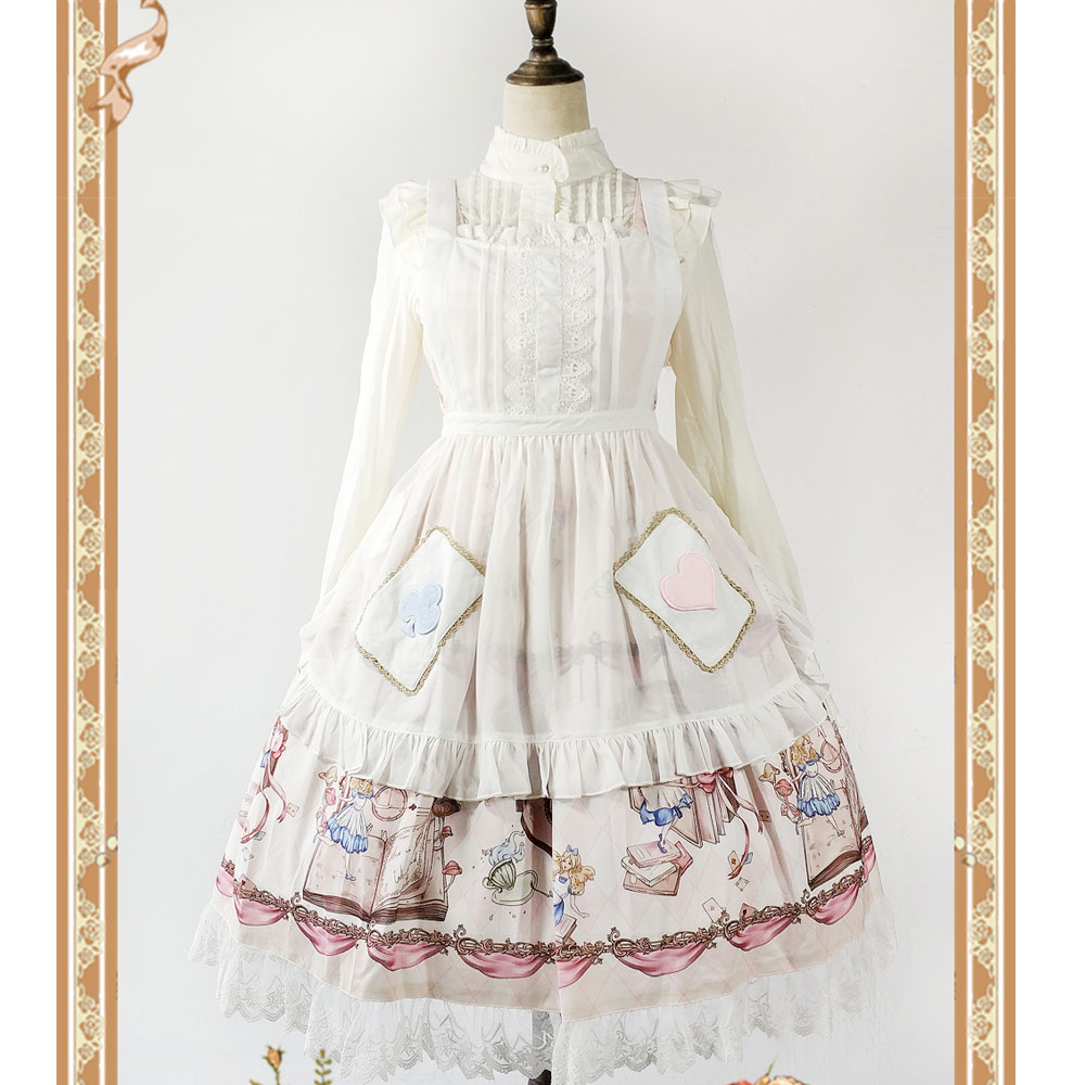 The Book Of Alices Mysterious Land ~ Sweet Lolita White Apron with Pockets by Infanta ...
