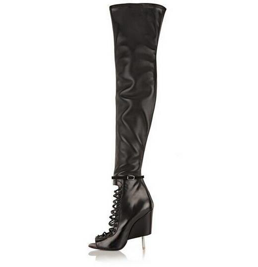 New Arrivals Women Autumn Peep Toe Stiletto Heels Shoes Women Back Zipper Genuine Leather Thigh High Strange Style Boots B112