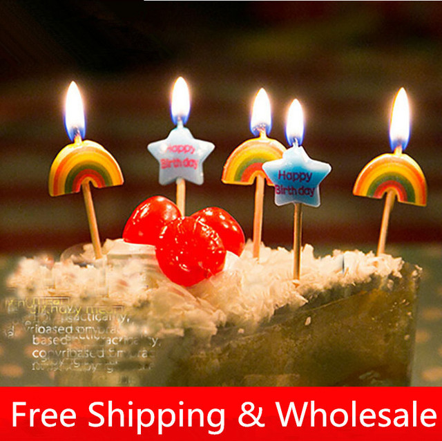 Cake Accessory Birthday party candle Rainbow star candles lovely