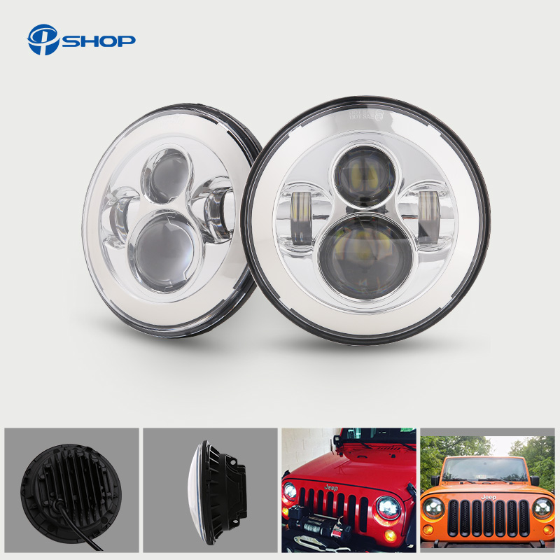 For Lada 4x4 urban Niva Headlight 7 Round Headlight With Angel Eyes For Jeep Wrangler Hummer Land rover defender Lamp руководящий насос range rover land rover 4 0 4 6 1999 2002 p38 oem qvb000050