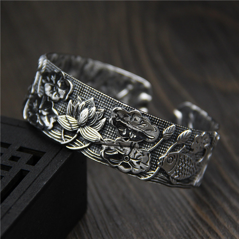 C&R Real 925 Sterling Silver bangles for women bracelet Retro Wide Fish Lotus Totem Thai Silver Fine Jewelry Adjustable