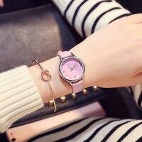 Модные прозрачные кожа Для женщин часы Повседневное кварцевые наручные часы для Для женщин девочек часы студент часы Reloj Mujer; bayan коль saati