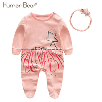 Humor Bear 2018 New Newborn Baby Girl Clothes Girls Printing Ribbon Baby Clothing Sets Infant Jumpsuit