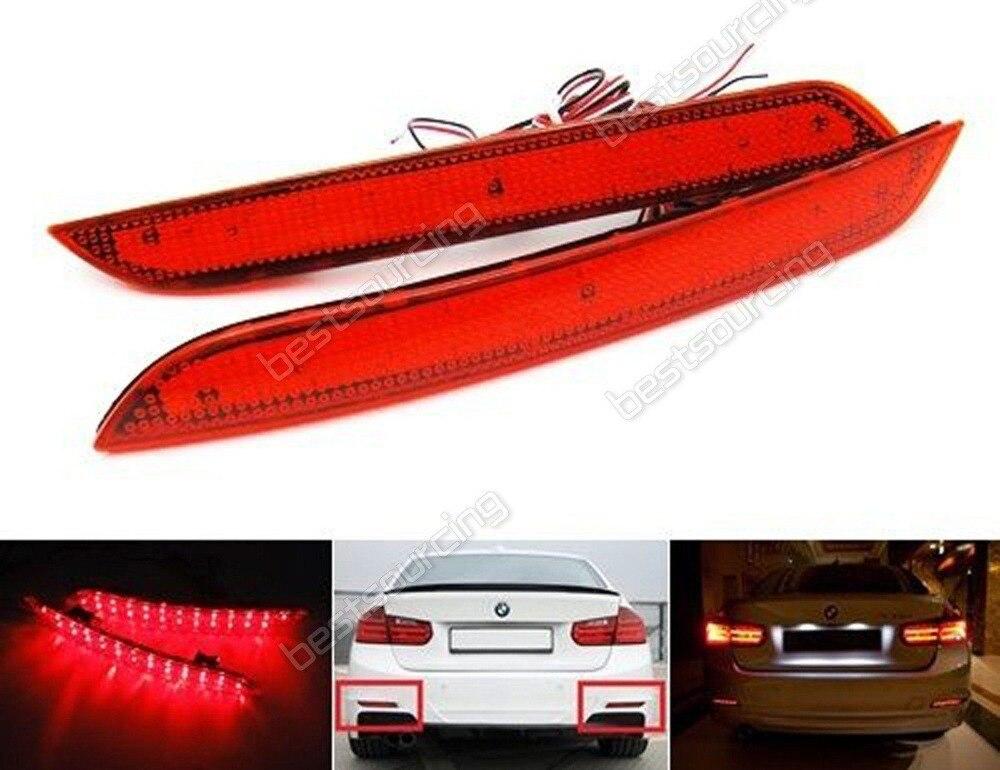 CYAN SOIL BAY For BMW 3 Series F30 F31 F35 F32 F33 F34 F36 335i Red Lens Rear Bumper Reflector LED Brake Reverse Light 2011-15