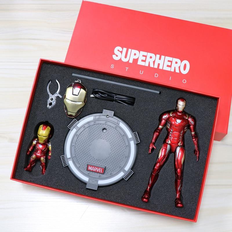 Avengers Infinity War Anime Figure fer homme poupées venin figurine d'action Joint mobile modèle Induction éclairage Base cadeau boîte