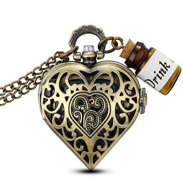 Bronze Heart-Shaped Pocket Watch Necklace Small Bottle Drink Me Alice In Wonderl