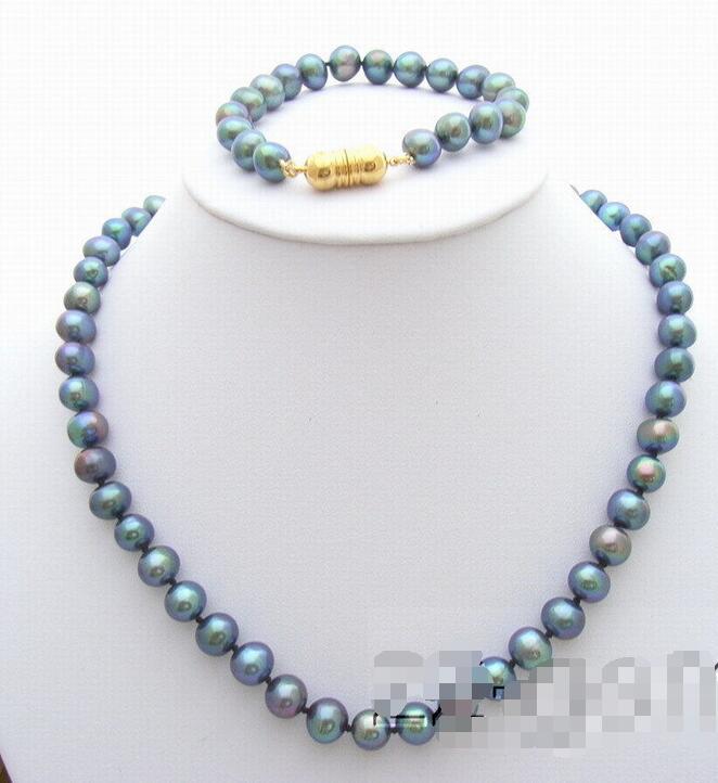 Livraison gratuite vente chaude Femmes De Mariée Bijoux De Mariage>> 9mm AA Noir Perle Collier et Bracelet Ensemble