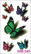 (Min Order $0.5) Waterproof Temporary Tattoo Tatoo Henna Fake Flash Tattoo Stickers Taty Tatto 3D Butterfly WM249