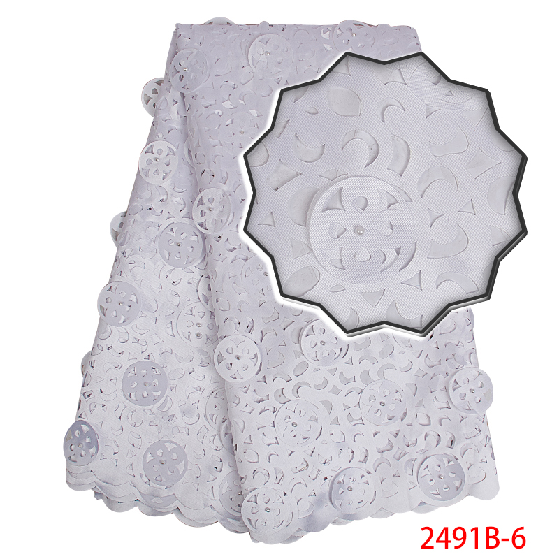 African Lace Fabric 2019 High Quality Lace,Guipure Lace Fabric With Beads,Nigerian Lace Fabric For Women Dress White KS2491B-6