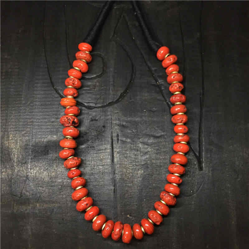 TNL245 Tibetan Necklace Nepal Sherpa Lampwork Beads Necklace Antiqued Glass Trade Beads