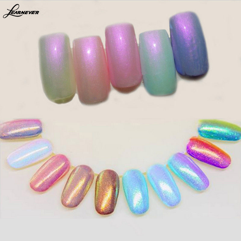 LEARNEVER 1 set New trend colors Glitter dust powder nail effect ...