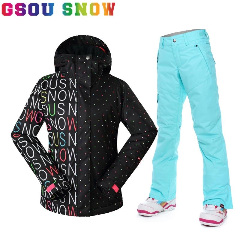 Prix pour Gsou Snow Hiver Professionnel combinaison de Ski Femmes Étanche 10 K Femelle Neige Vestes Pantalon Épaissir Respirant Dame Snowboard Vêtements