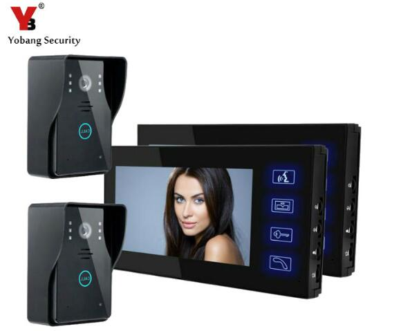 YobangSecurity 7 Inch Color Touch Button Video Door Phone Doorbell Intercom Entry System Kit 2-Monitor 2-Camera Night Vision