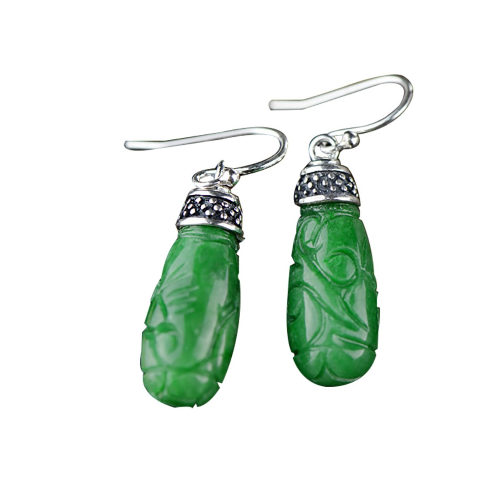 Retro Real 925 Sterling Silver Women Earrings Ethnic Burmese Jade Vintage Engraving Gift Drop Earrings For Women Fine Jewelry pair of vintage retro style alloy ball drop earrings for women