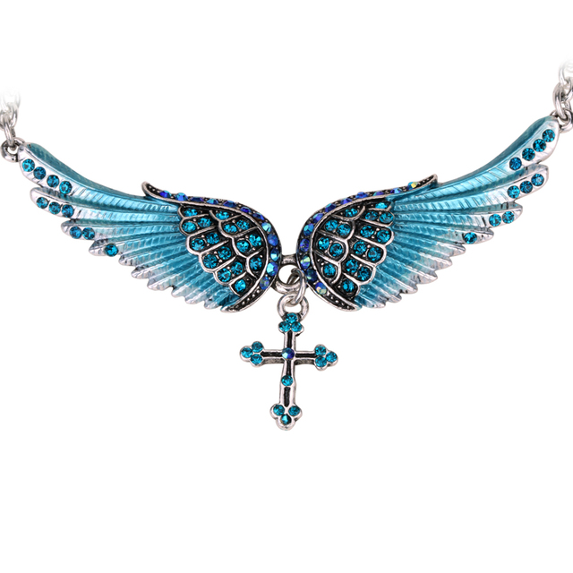 Angel wing cross necklace women biker jewelry gifts W/ crystal adjustable antique silver plated NC01 wholesale dropshipping