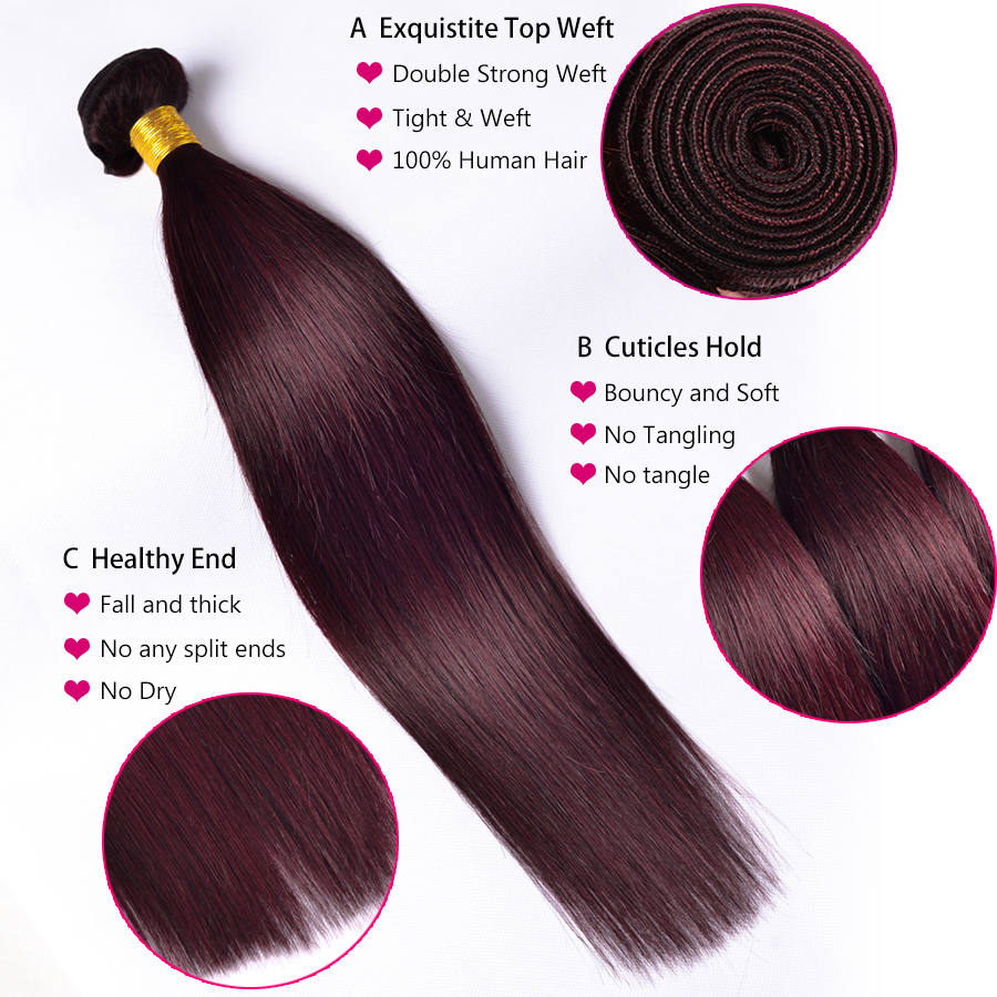 ALIPOP Burgund Peruvian Straight Hair Bundles Human Hair Bundles 3PC - Menneskehår (sort) - Foto 3