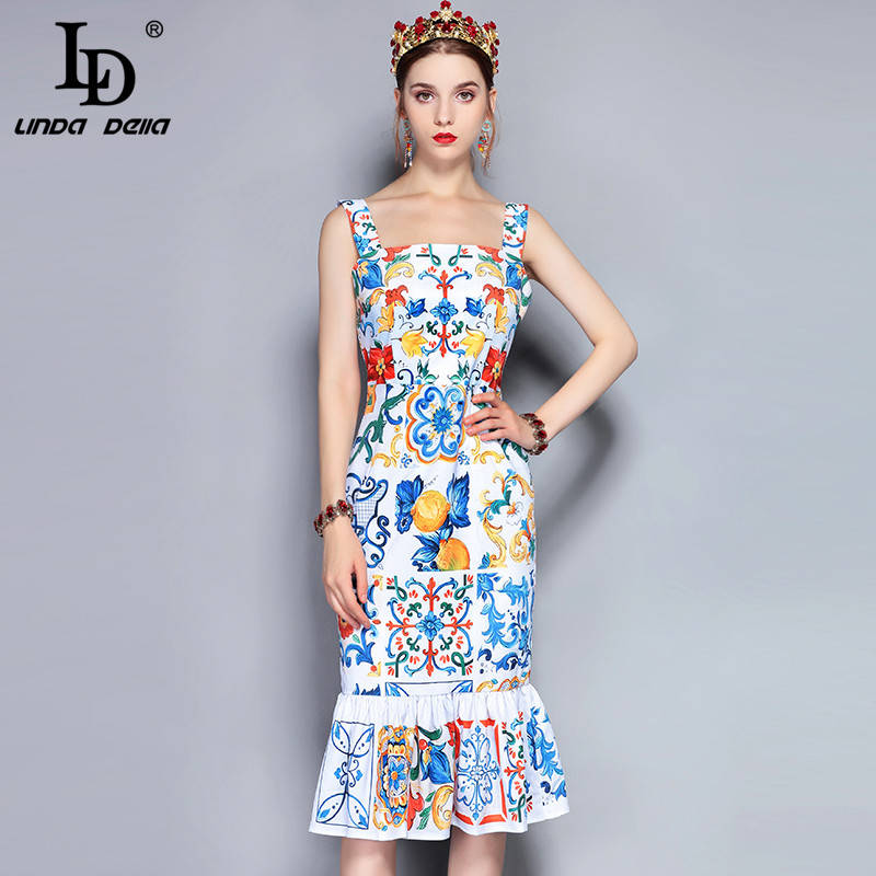 LD LINDA DELLA Fashion Runway Summer Dress Women s Spaghetti Strap Backless Gorgeous Floral Print Bodycon