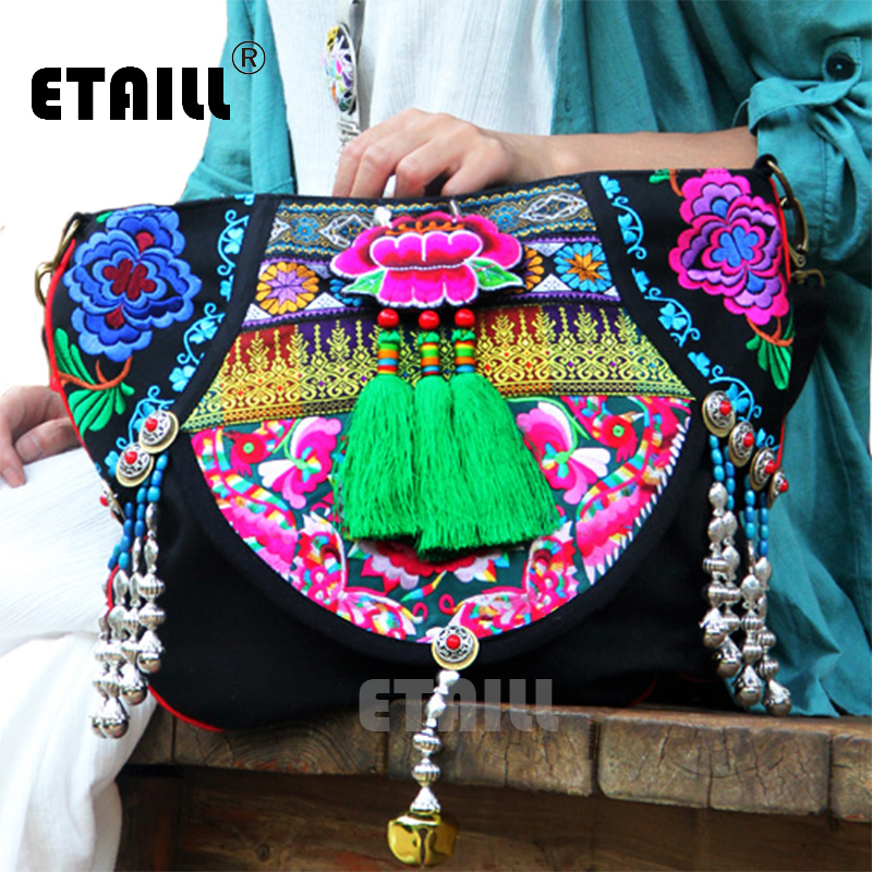 Hmong National Vintage Embroidery Bag Boho Embroidered Flower Embroided Bag Sac Femme Bordado Bolsa Sac Besace Ethnique Brode chinese hmong boho indian thai embroidery brand logo backpack handmade embroidered canvas ethnic travel rucksack sac a dos femme
