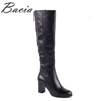 Bacia 2017 Elegant Long Thin Boots Women Wool Fur & Synthetic Genuine Leather Boots Handmade Vintage High Quality Shoes MC014