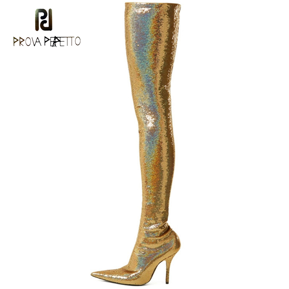 Prova Perfetto bling sequins women stretch long boots sexy pointed toe strange high heel nightclub thigh high boots mujer zapato glisten silver crystals jumpsuit long sleeves stretch pearl outfit female singer ds nightclub women s party wear sexy bodysuits