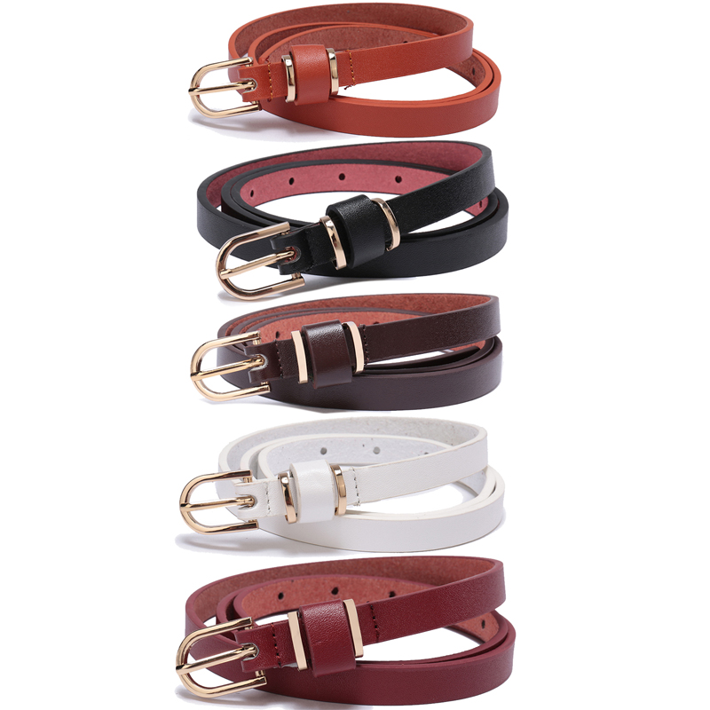 Women's Skinny Leather   Belt   Solid Color Waist or Hips Ornament 10 Sizes 1.5cm Wide Waistband Cummerbund Ladies and Girls