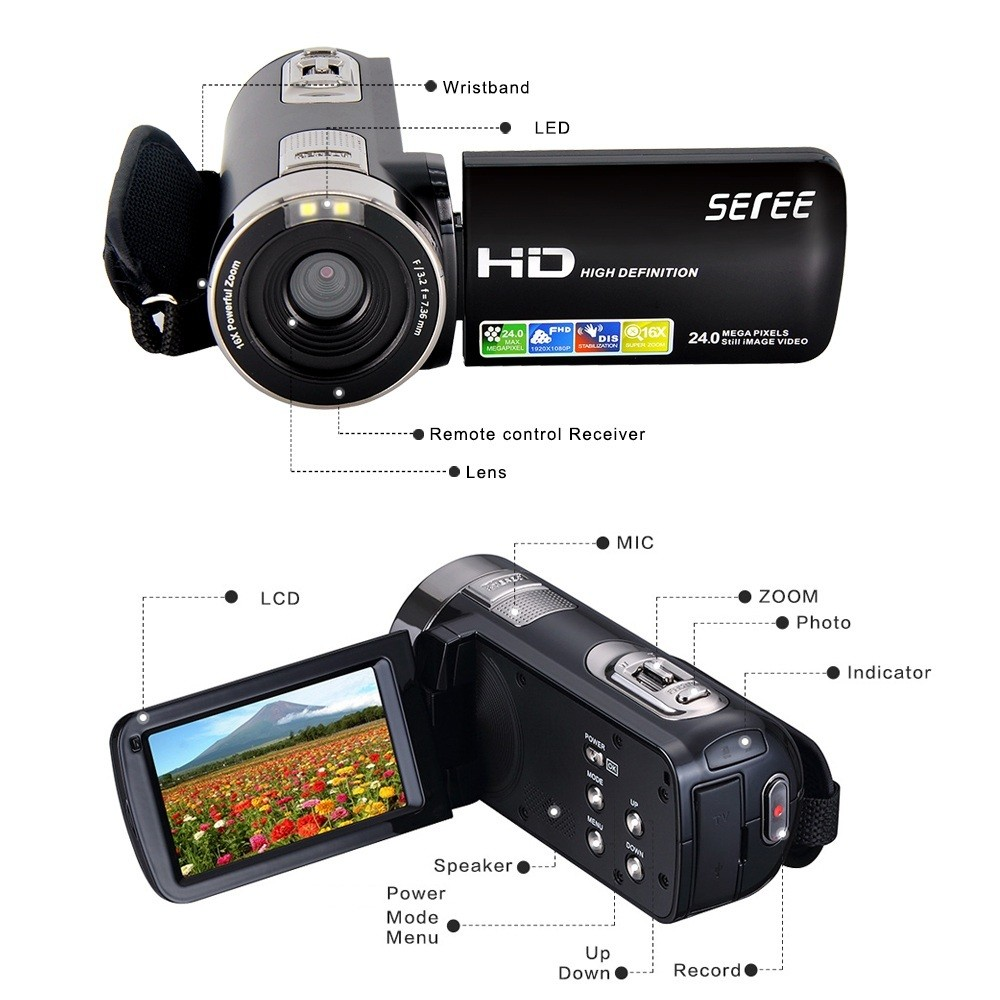 "Seree HDV-301S 1080P Digital Video Camera 24MP 16X 3.0"" Rotatable Touch Screen LCD Camcorder DV With Remote Controller 5"