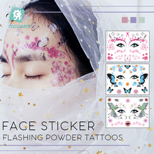New Arrival Arabic India big tattoo eye masquerade ball flash and butterfly pattern makeup tattoo.