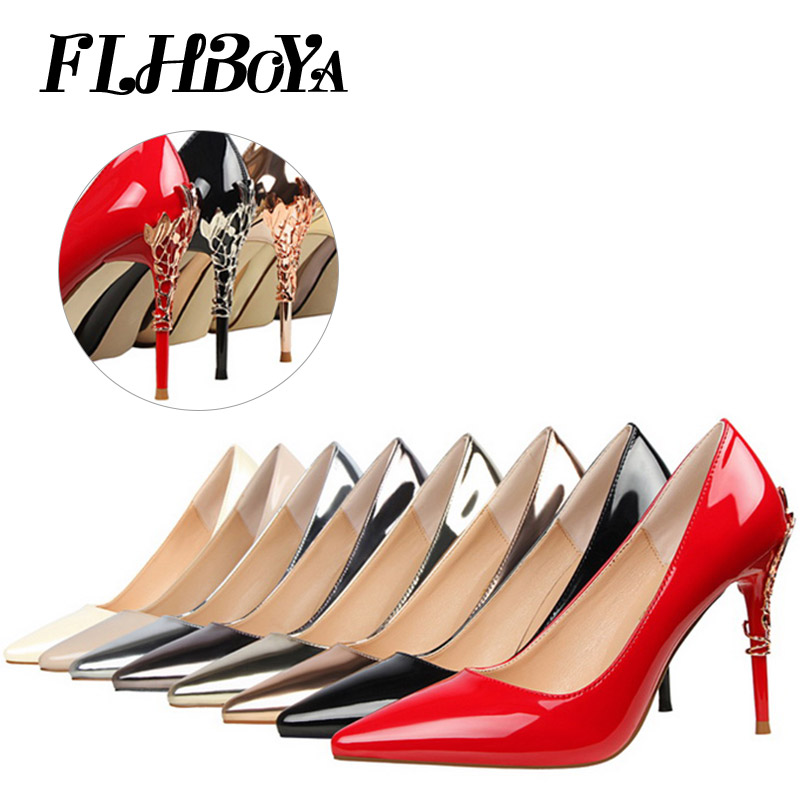 FLBHOYA Women Fashion Sexy Thin High Heels Pointed Toe Pumps Woman Bridal Wedding Ladies Party Shallow Pumps Shoes Silver Red oui пуловер oui ob43938 941
