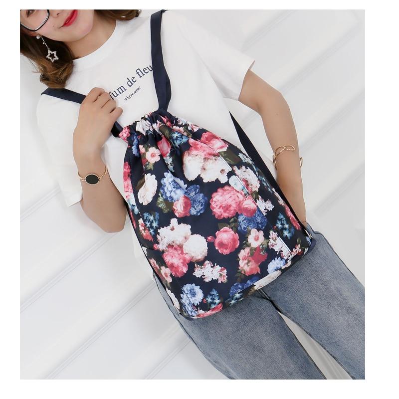 Flower Printed Drawstring Women Backpack Travel Beach Casual Multi Pocket Girls Shoulder Bags Ladies Nylon Storage School Bag flower printed drawstring board shorts