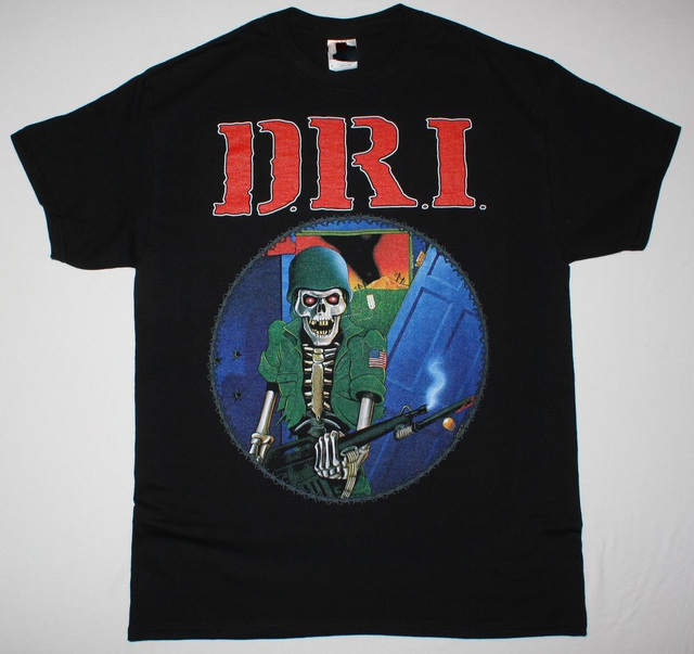 44df5c338c D.R.I. DIRTY ROTTEN LP BLACK T SHIRT IMBECILES CROSSOVER THRASH GANG GREEN  DRI Short Sleeve Hipster Tees Top Tee Print