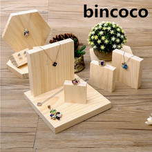 bincoco square shape display stand for jewelry five stand display holder for necklaces show shelf 5 pieces a set wood show rack
